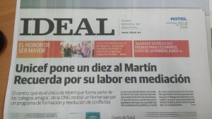 UNICEF pone un diez al Martín Recuerda por su labor en mediación